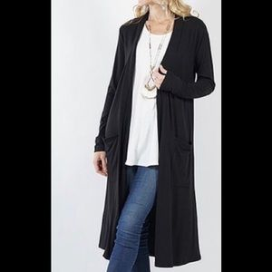 Black Soft & Cozy Pocketed Long Open Cardigan